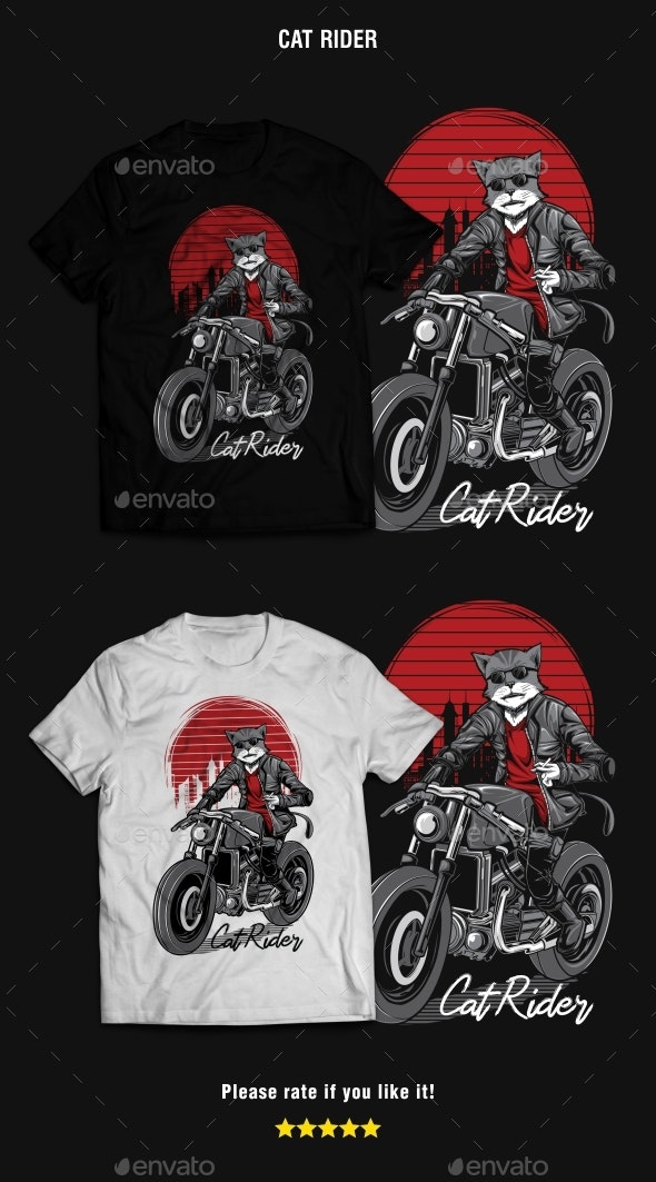 Cat Rider T-Shirt Design - T-Shirts
