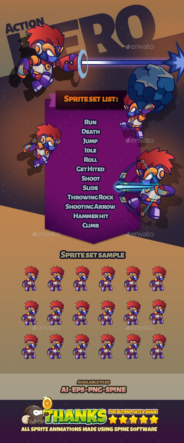 Character Set V22 - Sprites Game Assets