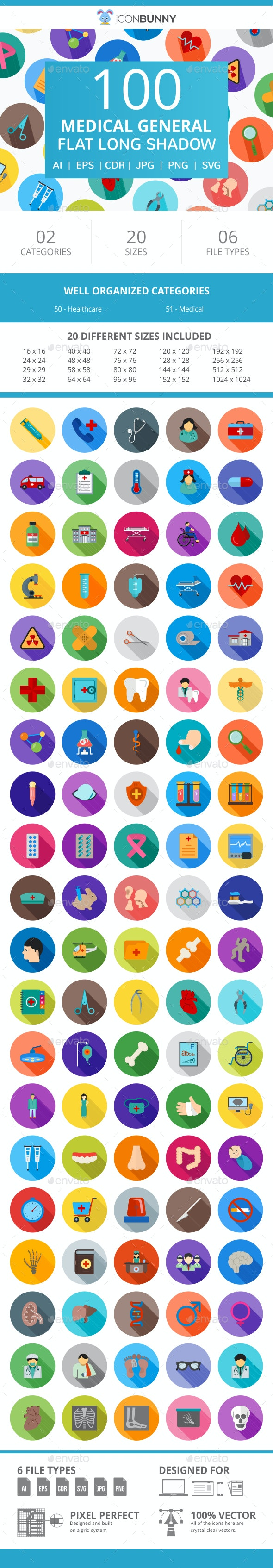 100 Medical General Flat Long Shadow Icons - Icons