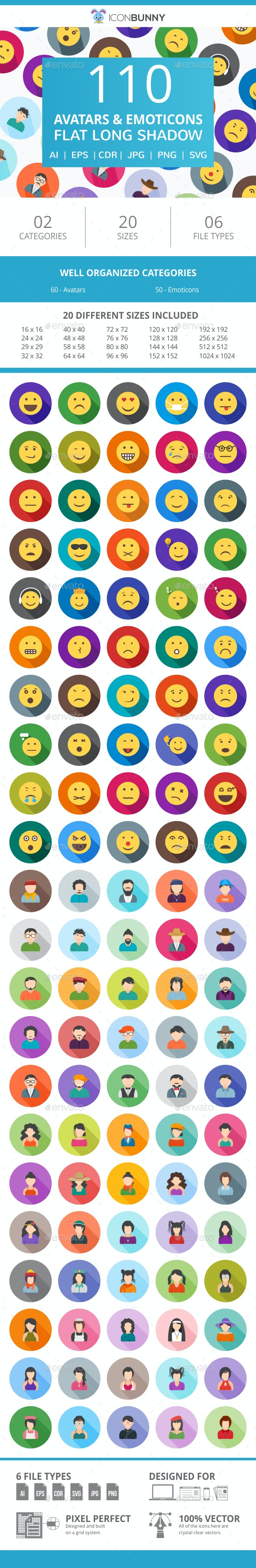 110 Avatars & Emoticons Flat Long Shadow Icons - Icons