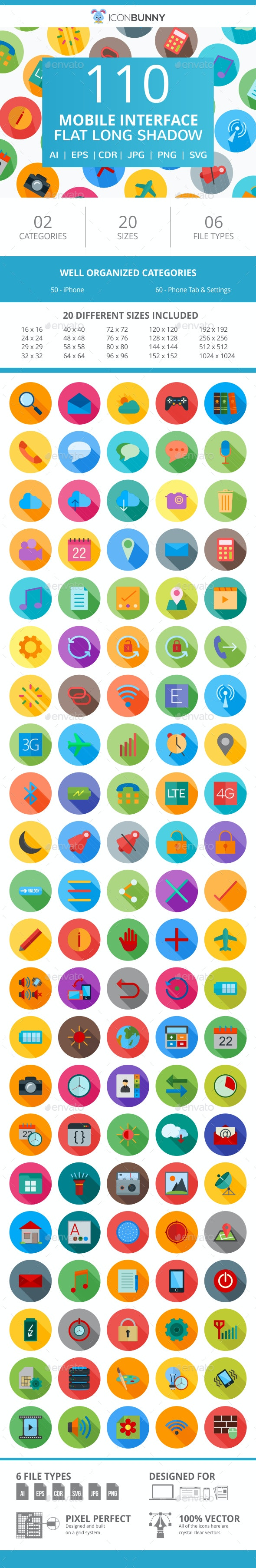 110 Mobile Interface Flat Long Shadow Icons - Icons