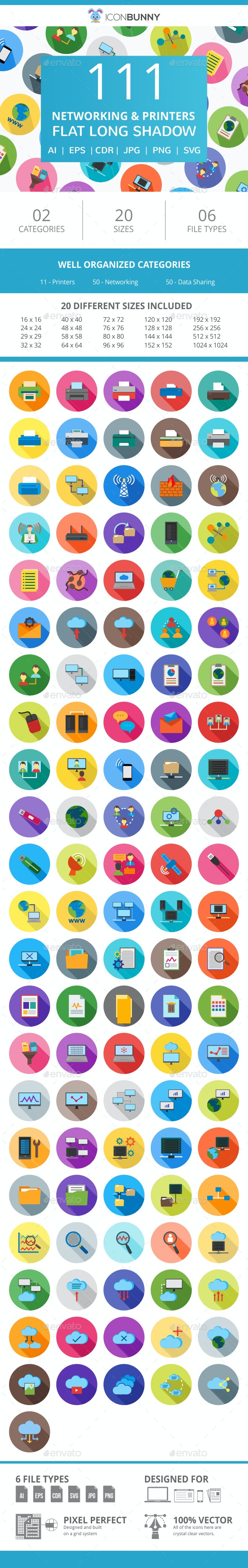 111 Networking & Printers Flat Long Shadow Icons - Icons