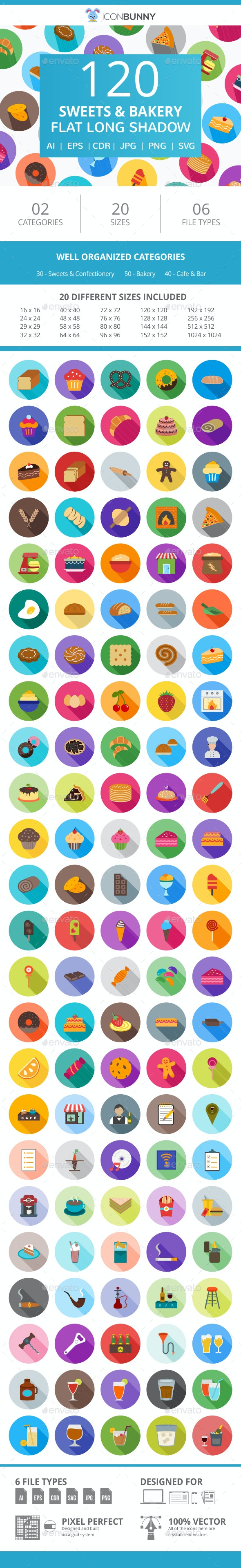 120 Sweets & Bakery Flat Long Shadow Icons - Icons