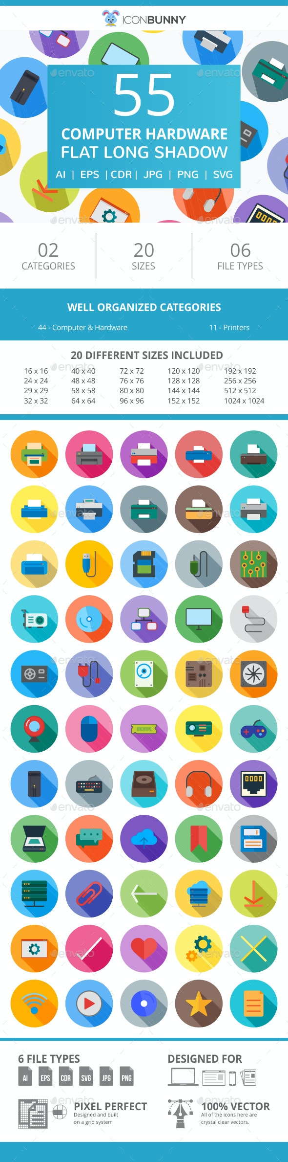 85 Computer & hardware Flat Long Shadow Icons - Icons