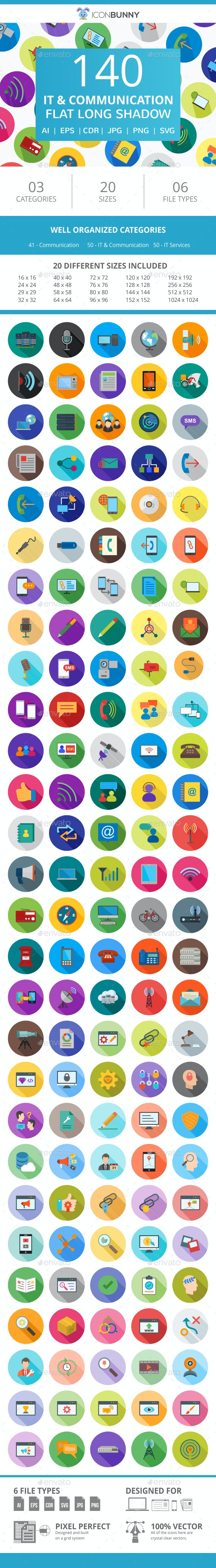 141 IT & Communication Flat Long Shadow Icons - Icons