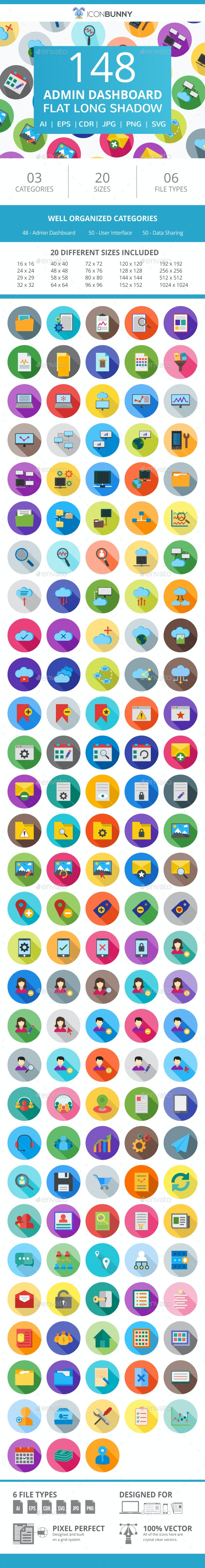 148 Admin Dashboard Flat Long Shadow Icons - Icons