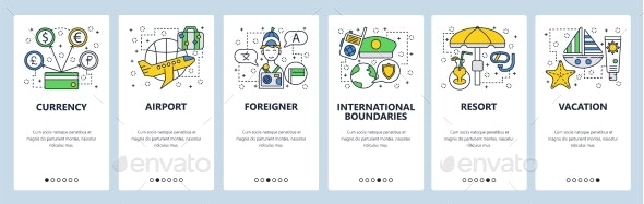 Web Site Onboarding Screens International Travel - Travel Conceptual