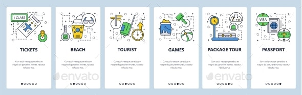 Web Site Onboarding Screens Travel and Beach - Travel Conceptual
