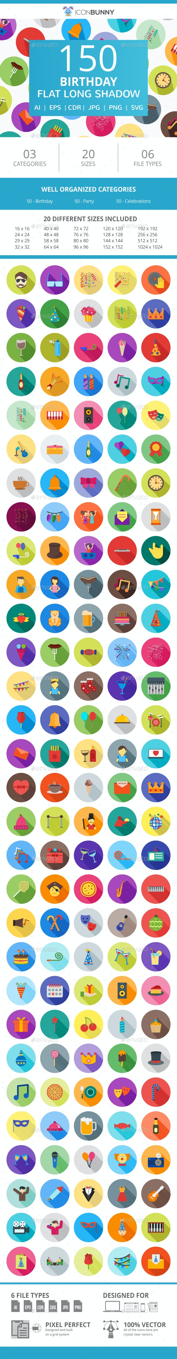 150 Birthday Flat Long Shadow Icons - Icons