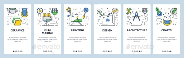 Web Site Onboarding Screens Hobby and Art - Web Elements Vectors