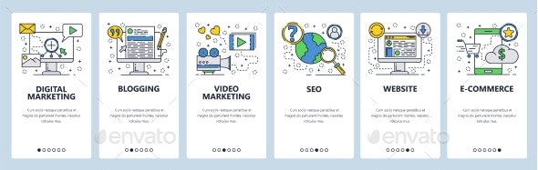 Web Site Onboarding Screens SEO Digital Marketing - Web Elements Vectors