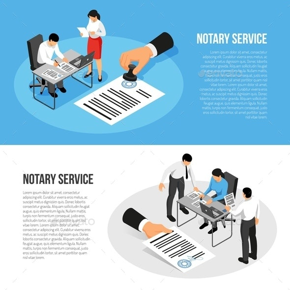 Notary Service Isometric Banners - People Characters