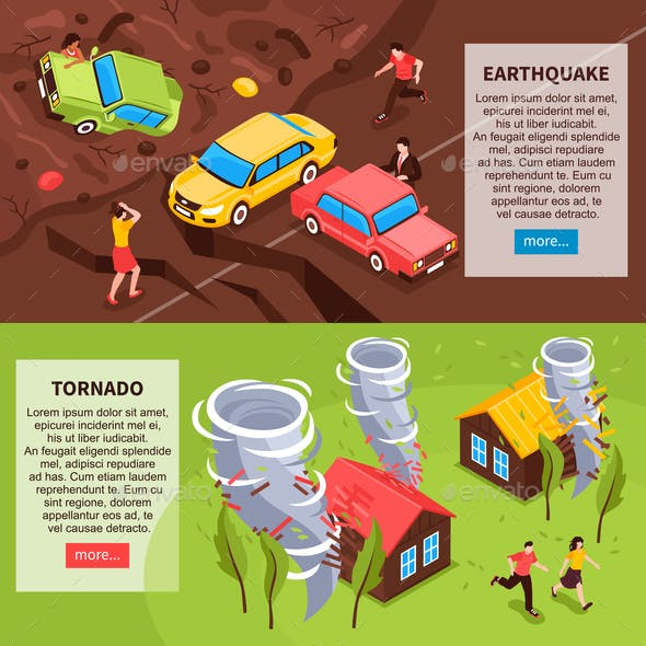 Natural Disaster Isometric Banners