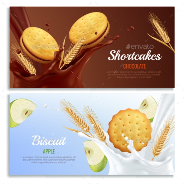 Cookies Banners Set - Backgrounds Decorative