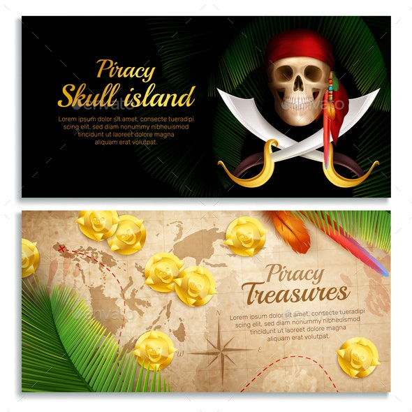 Pirate Banners Set - Backgrounds Decorative