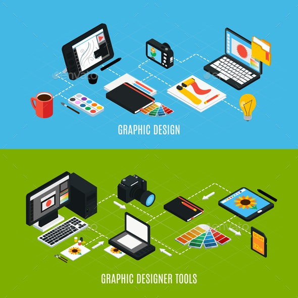 Graphic Design Banners Set - Computers Technology