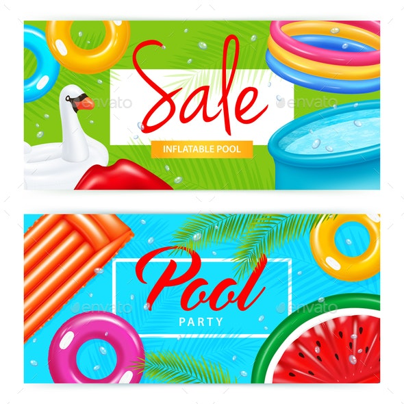 Realistic Inflatable Pool Banners - Miscellaneous Vectors
