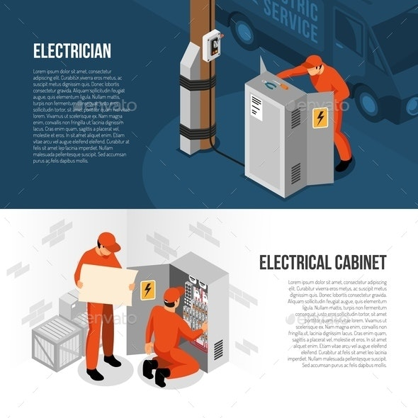 Electrician Isometric Banners - Services Commercial / Shopping