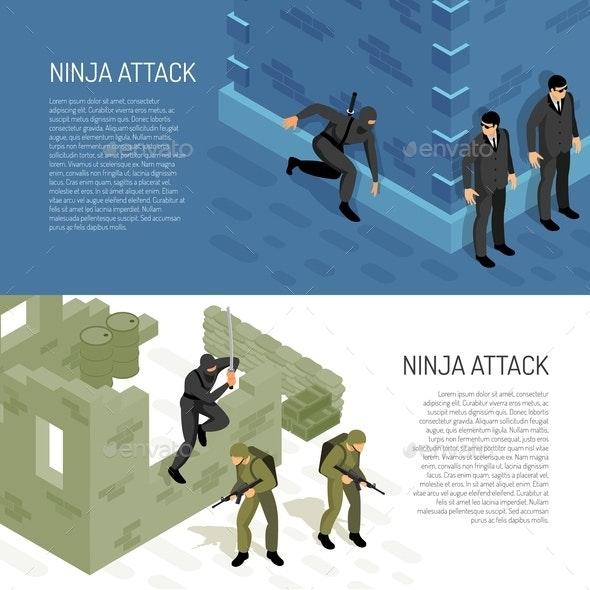 Ninja Isometric Banners - Buildings Objects