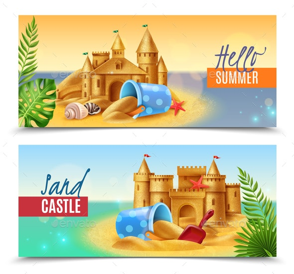 Hello Summer Realistic Banners - Landscapes Nature