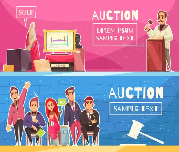 Auction Horizontal Banners Set - People Characters