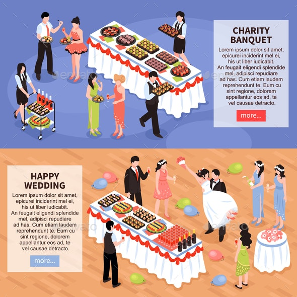 Banquet Party Horizontal Banners - Food Objects