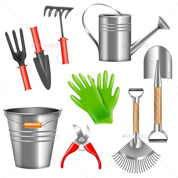 Realistic Garden Tools Set - Miscellaneous Vectors