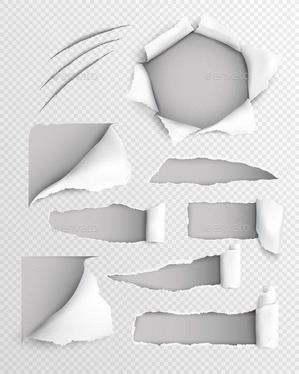 Torn Paper Realistic Transparent Set - Miscellaneous Vectors