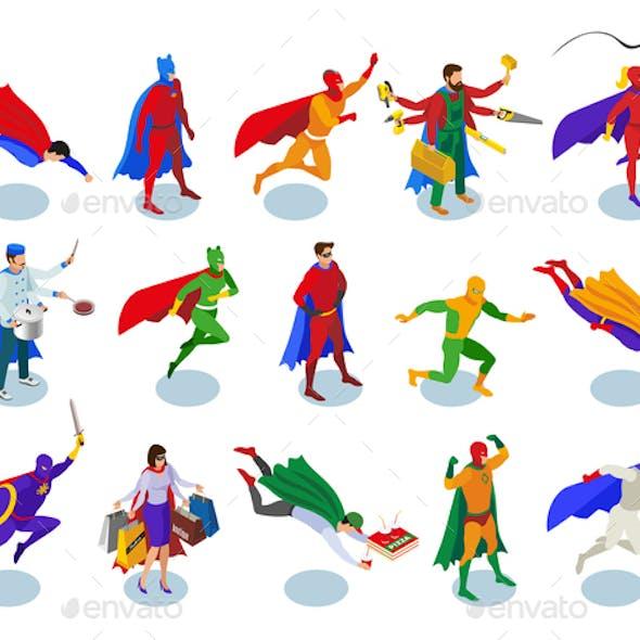 Super Heroes Isometric People