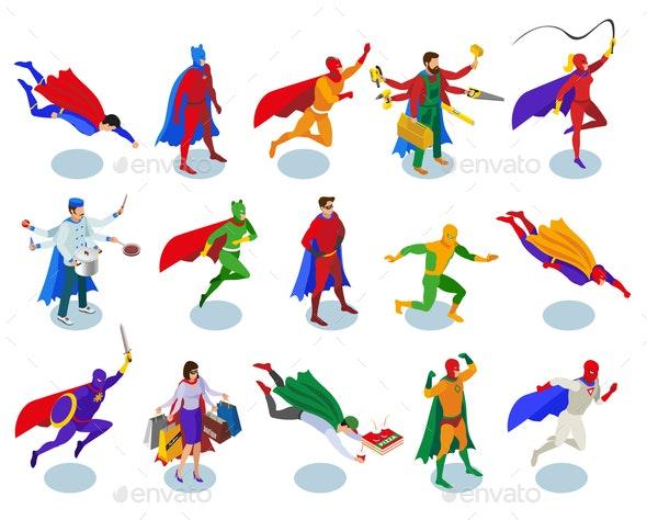 Super Heroes Isometric People - People Characters