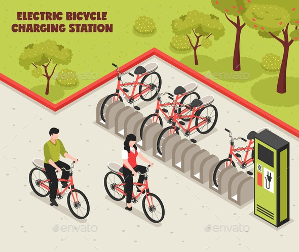 Electric Bicycle Charging Station - Miscellaneous Vectors