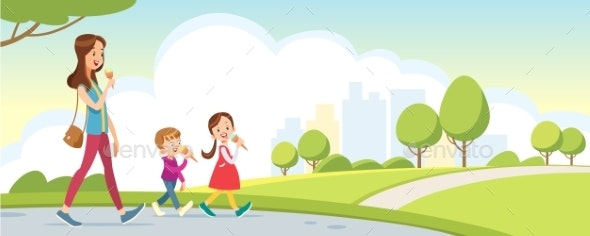 Mother and Daughter and Son Walk in the Park - People Characters