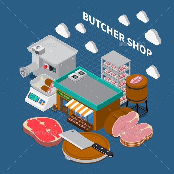 Butchers Shop Isometric Background - Food Objects