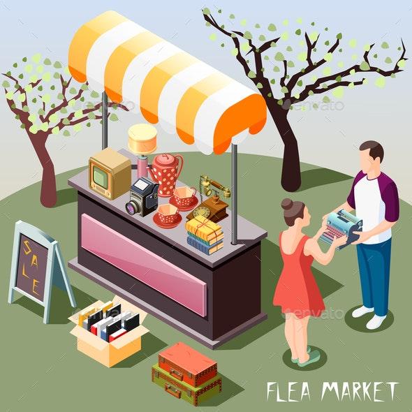 Flea Market Isometric Background - Miscellaneous Vectors
