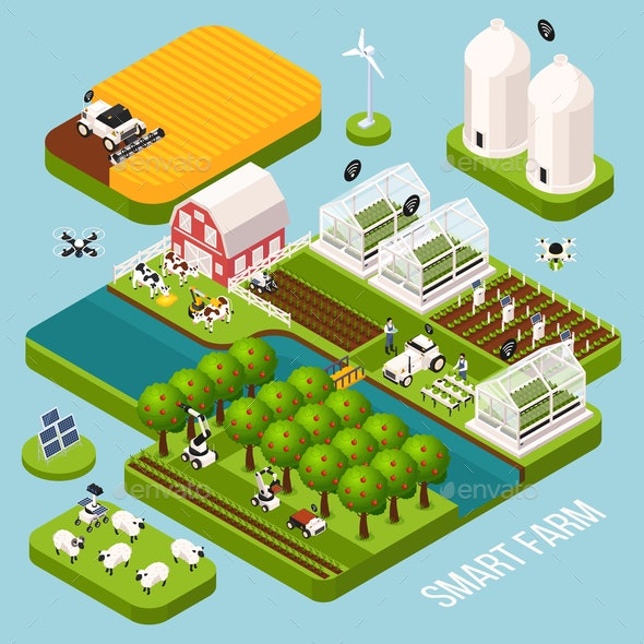 Smart Farm Isometric  Set - Animals Characters