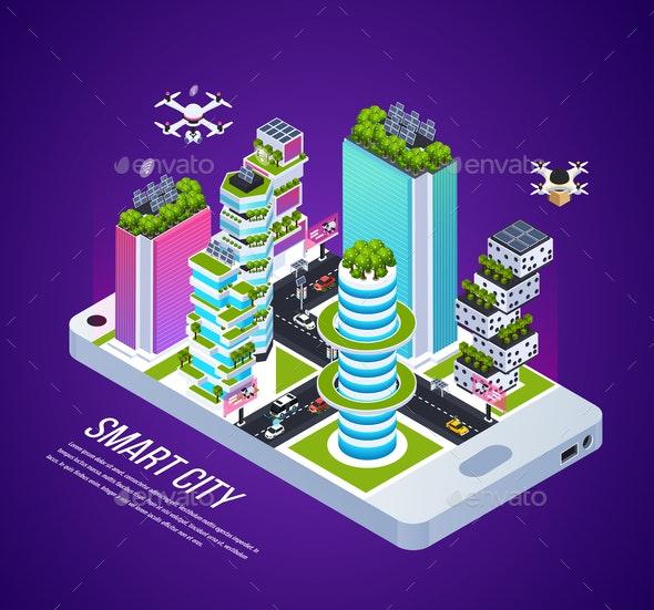Smart City Isometric Composition - Miscellaneous Vectors