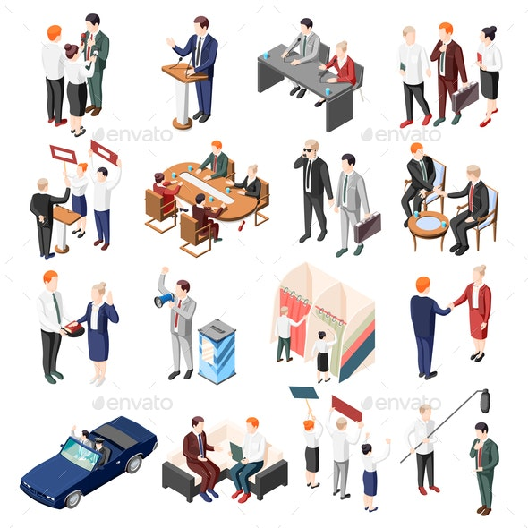 Politicians Isometric Icons - People Characters