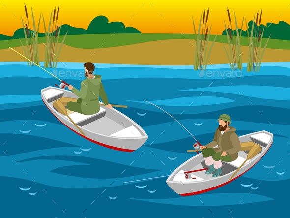 Fishers in Boats Isometric Illustration - Sports/Activity Conceptual