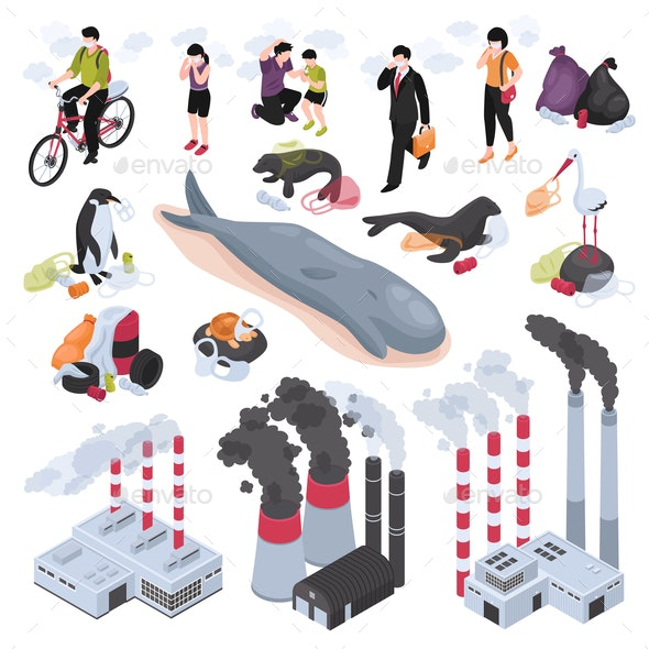 Pollution Isometric Set - Industries Business