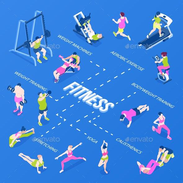 Isometric Fitness Infographics - Sports/Activity Conceptual