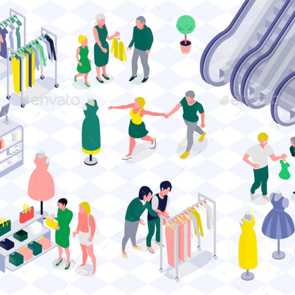 Family Shopping Horizontal Isometric Illustration