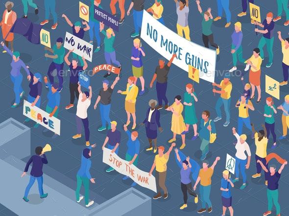 Protesting People Isometric Horizontal Illustration - People Characters