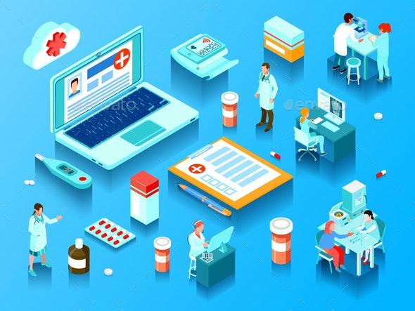 Online Medicine Horizontal Isometric Illustration - Health/Medicine Conceptual