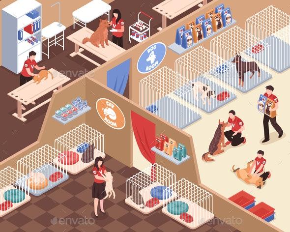 Animal Shelter Isometric Illustration - Animals Characters