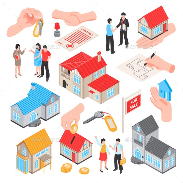 Real Estate Isometric Set - Industries Business