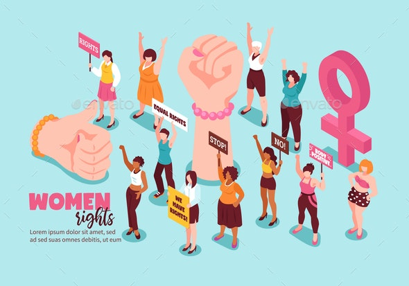 Women Rights Feminism Isometric Illustration - Backgrounds Decorative