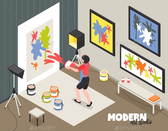 Modern Art Studio Isometric Illustration - People Characters