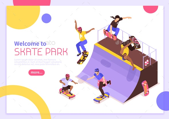 Skate Park Banner Concept - People Characters