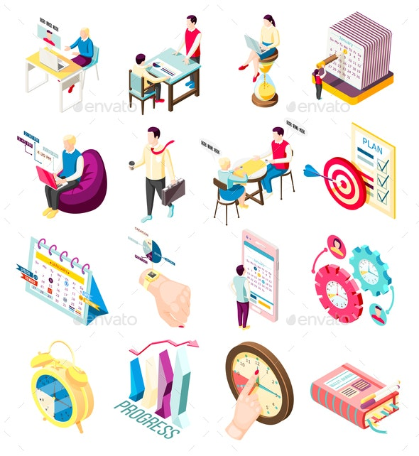 Isometric Management Icons Collection - Concepts Business