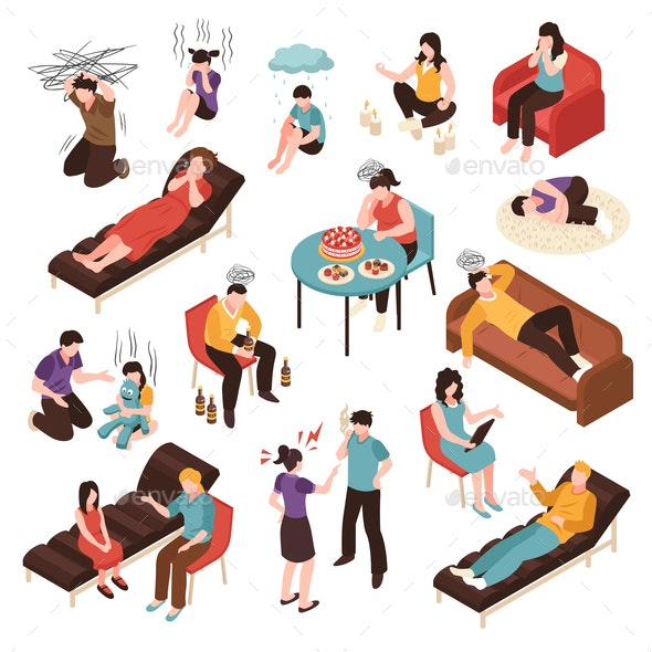 Depression Isometric Set - People Characters